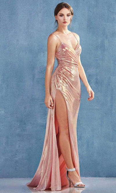 Andrea and Leo - A0921 Fitted Metallic Lame High Slit Sheath Gown In Champagne and Gold