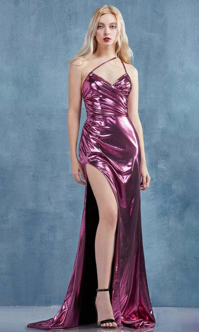 Andrea and Leo - A0921 Fitted Metallic Lame High Slit Sheath Gown In Pink