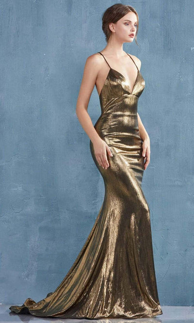 Andrea and Leo - A0937 Crisscross Sexy Back Metallic Gown In Gold