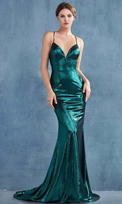 Andrea and Leo - A0937 Crisscross Sexy Back Metallic Gown In Green