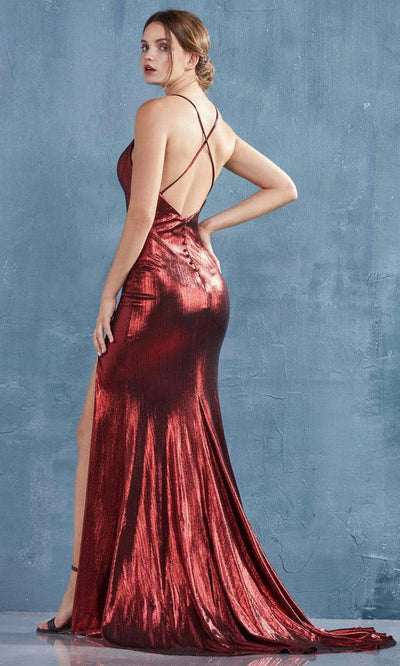 Andrea and Leo - A0937 Crisscross Sexy Back Metallic Gown In Red