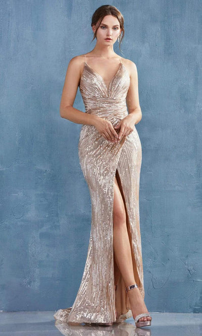 Andrea and Leo - A1008 Sequined High Slit Mermaid Gown In Champange and Gold