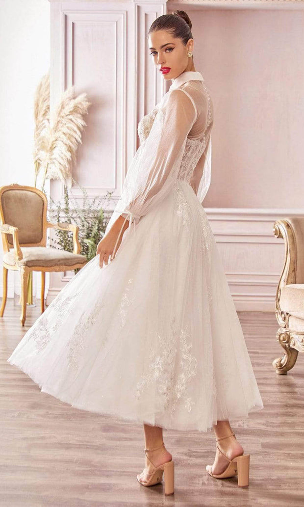 Andrea and Leo - A1016 Collared Embroidered Bridal Dress In White