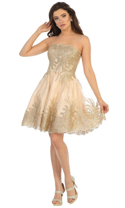 May Queen - MQ1650 Bateau Neck Beaded Embroided Dress In Neutral