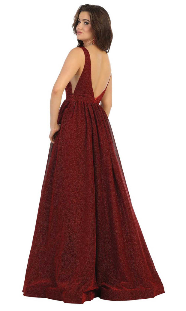 May Queen - RQ7753 Glitter Deep V Neck Evening Gown In Red