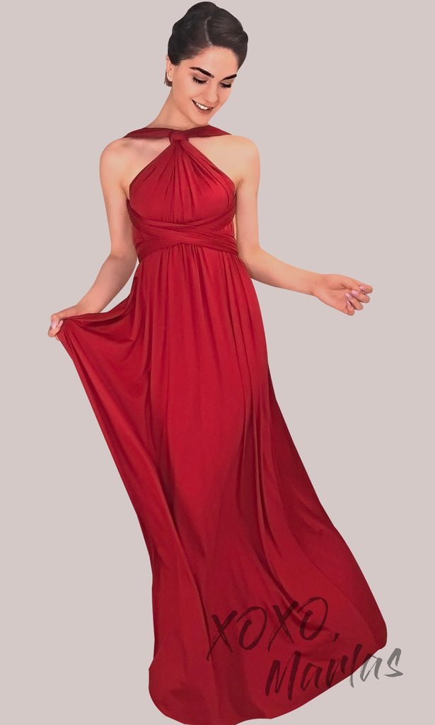 fb88415ac2857 BLong red infinity bridesmaid dress or multiway dress or convertible dress.