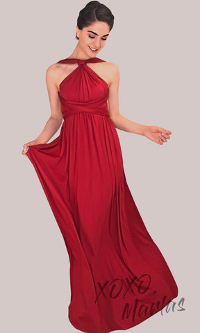 BLong red infinity bridesmaid dress or multiway dress or convertible dress.One dress worn in multiple ways.This red one size dress is great for bridesmaid, prom, destination wedding, gala, cheap western party dress, semi formal, cocktail, gala, formal