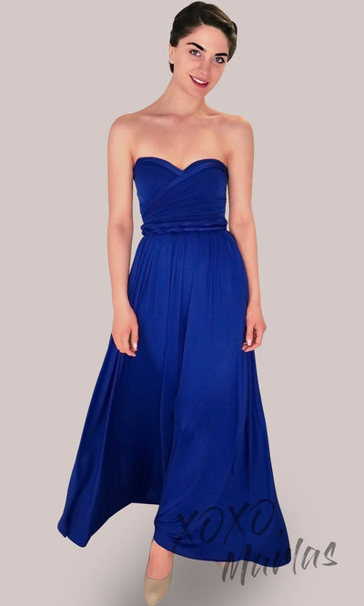 Long royal blue infinity bridesmaid dress or multiway dress or convertible dress.One dress worn in multiple ways.This bright blue one size dress is great for bridesmaid, prom, destination wedding, gala, cheap western party dress, semi formal,cocktail