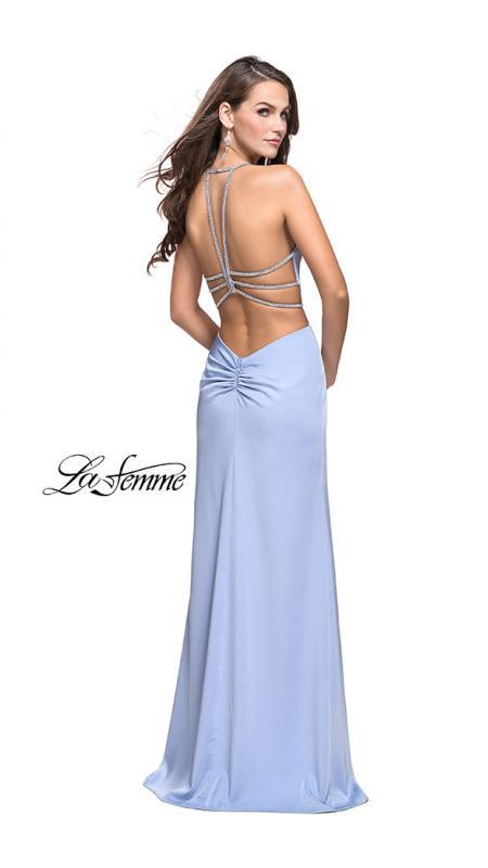 Back of La Femme 25398cloud blue prom dress. This is a beautiful blue open back prom dress. It features a plunging v neck with a high slit. Sleek and sexy prom dress