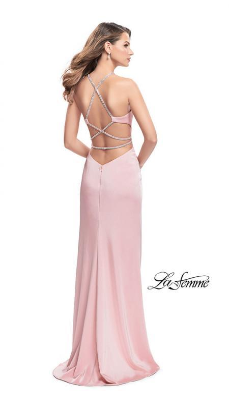Back of La Femme 25459 blush prom dress. This is a beautiful pink open back prom dress. It features a high neck with a high slit. Sleek and sexy prom dress