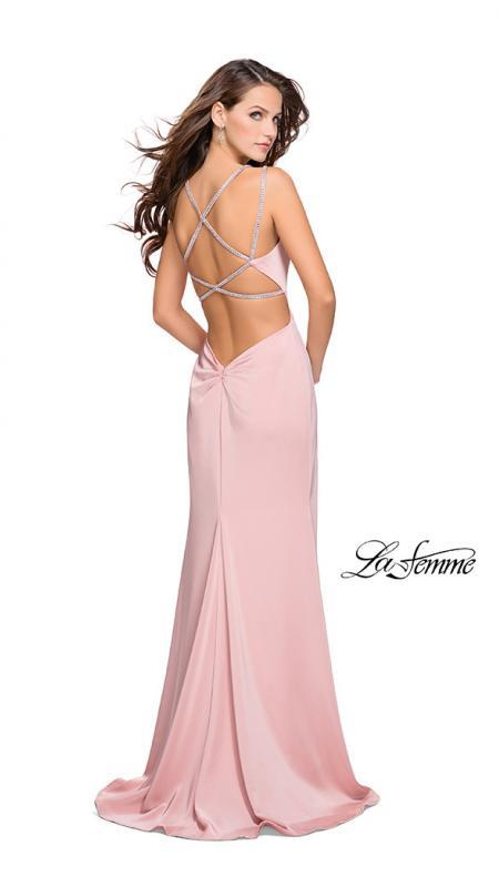 Back of La Femme 25660 blush prom dress. This is a beautiful pink open back prom dress. It features a v neck with a high slit. Sleek and sexy prom dress