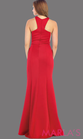Back of Long high neck fitted red dress with a tone on tone belt. This is a sleek and sexy red prom dress, fitted formal gown, long wedding guest dress. It is available in plus sizes