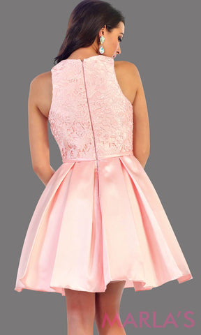 Back of Short taffeta pink dress with lace bodice. This blush grade 8 grad dress has a high neck and built in cups. Perfect for confirmation, graduation, wedding guest dress, homecoming, short prom dress, and damas. Available in plus sizes
