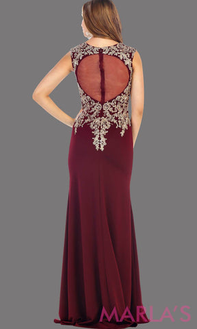 Back of long Burgundy party dress with gold lace. This is a beautiful plus size dress that is perfect as a modest dress, dark red prom dress, wedding guest dress, or a conservative party dress
