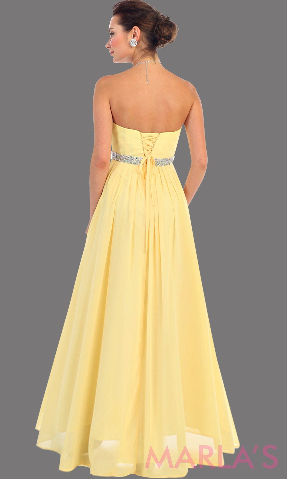 Strapless Chiffon Gown With Rhinestone Marlasfashions