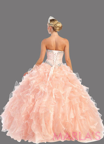 Back of long blush princess ball gown with ruffled skirt and shrug. Perfect for Engagement dress, Quinceanera, Sweet 16, Swet 15 and light pink Wedding Reception Dress. Available in plus sizes