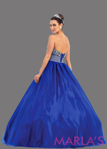 Back of long royal blue strapless princess quinceanera ball gown with rhinestone beading. Perfect for Engagement dress, Quinceanera, Sweet 16, Sweet 15 and Blue Wedding Reception Dress. Avail in plus sizes