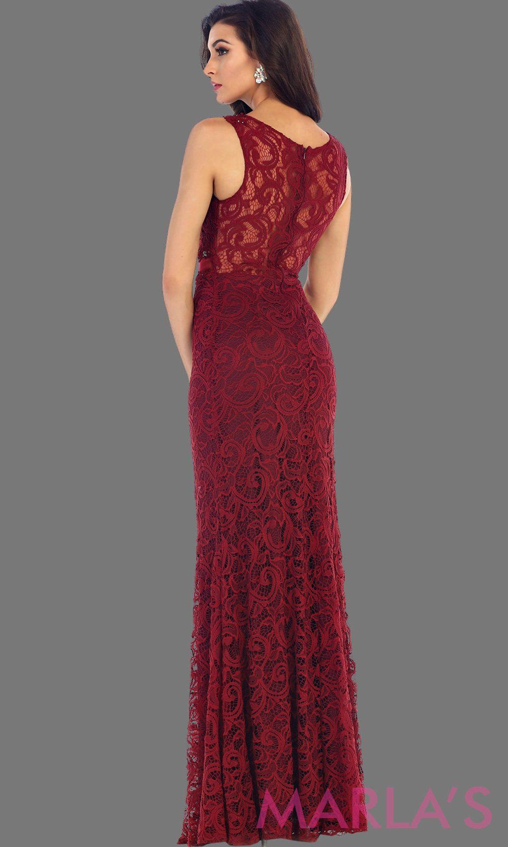 Back of long simple burgundy red two piece dress. This dark r dress is a perfect long prom dress. The red illusion neckline and waist creates a two piece prom look. Can be worn as a wedding guest dress, worn at a formal event or gala. Available in plus sizes