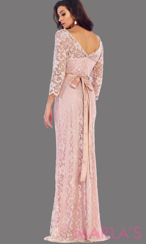 Back of long sleeve pink lace dress with detachable belt. This beautiful modest full length gown is a perfect bridesmaid dress, blush prom dress, simple bridal dress. Available in plus sizes