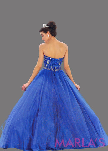 Back of long strapless royal blue Quinceanera ball gown. This is a beautiful beaded top blue ballgown that is perfect for sweet 16, engagement party, Quinceanera, Sweet 15, Debut, or bah mitzvah. Ballgowns are available in plus sizes