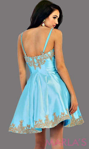 Back of short satin aqua grade 8 graduation dress with gold lace detail and straps. This dress features pockets. Perfect light blue short prom dress, confirmation dress, damas, and wedding guest dress. Available in plus sizes.