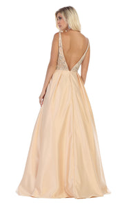 May Queen - MQ1632 Beaded V-Neck A-Line Gown