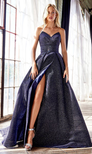 Cinderella Divine CB045 long navy blue metallic dress with high slit