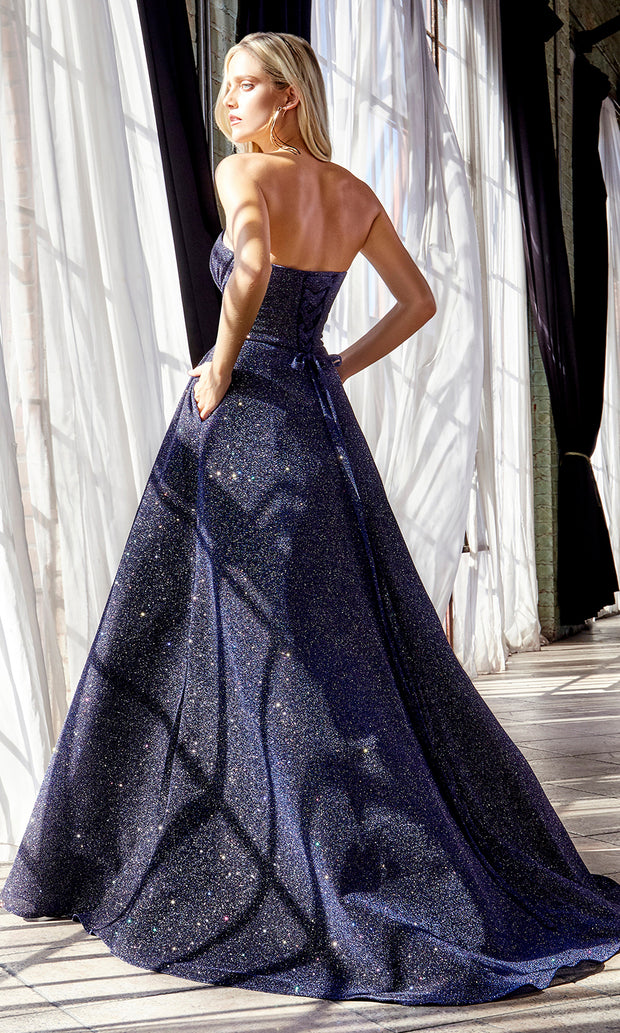 Cinderella Divine CB045 long navy blue metallic dress with high slit - back