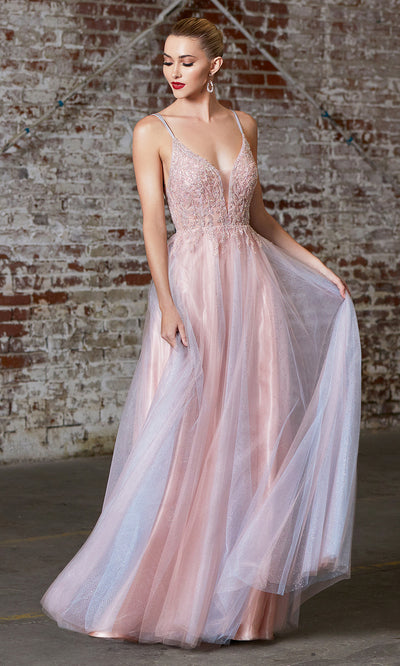 Cinderella Divine CD0164 long flowy tulle dress with beaded top