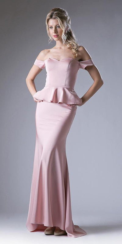 Cinderella Divine - CF134 Sweetheart Peplum Trumpet Gown In Pink and White