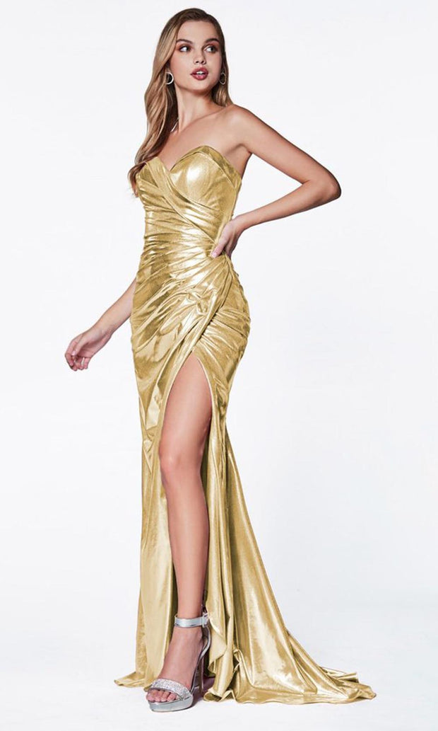Cinderella Divine - CF335 Sweetheart Metallic Gown In Neutral
