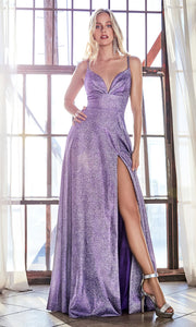 Cinderella Divine CD906 purple v neck satin dress whigh slit & straps. Perfect purple dress for prom, engagement shoot, bridesmaids, indowestern gown, black tie event, gala, pageant, formal party dress, wedding guest dress. Plus sizes avail