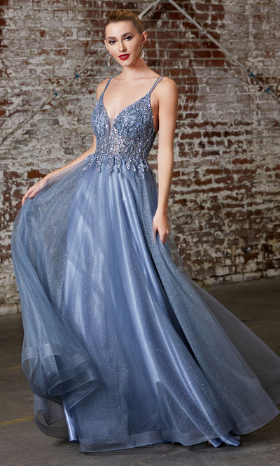Cinderella Divine CD0154 smokey blue v neck sequin beaded dress wlow back & straps. Perfect dusty blue dress for prom, wedding reception or engagement dress, indowestern gown, sweet 16, debut, quinceanera, formal party dress. Plus sizes avail