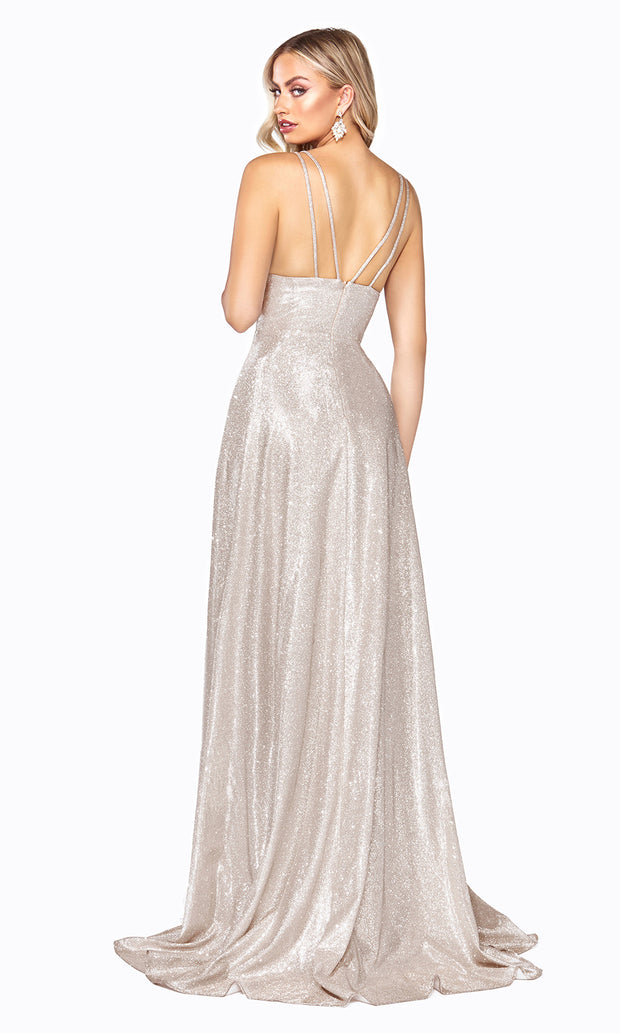Cinderella Divine CD906 champagne v neck satin dress whigh slit & straps. Perfect light gold dress for prom, engagement shoot, bridesmaids, indowestern gown, black tie event, gala, pageant, formal party dress, wedding guest dress. Plus sizes avail-b