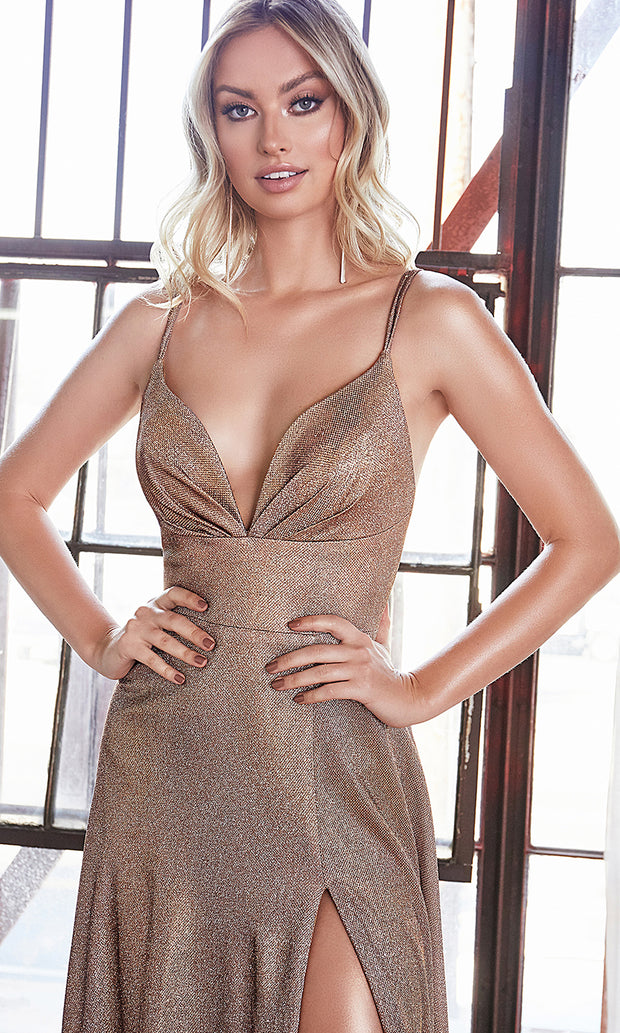 Cinderella Divine CD906 copper v neck satin dress whigh slit & straps. Perfect dark gold dress for prom, engagement shoot, bridesmaids, indowestern gown, black tie event, gala, pageant, formal party dress, wedding guest dress. Plus sizes avail