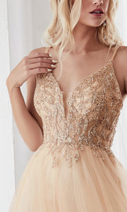 Cinderella Divine CD0154 champagne gold v neck sequin beaded dress wlow back & straps. Perfect light gold dress for prom, wedding reception or engagement dress, indowestern gown, sweet 16, debut, quinceanera, formal party dress. Plus sizes avail-c