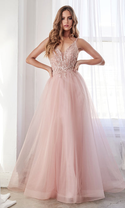 Cinderella Divine CD0154 blush pink v neck dress w straps & open back Perfect dark blue dress for prom bridesmaids formal wedding guest dress gala black tie event wedding engagement reception beaded indowestern gown Plus sizes avail