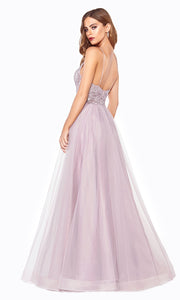 Cinderella Divine CD899 mauve v neck sequin lace beaded dress wlow back &straps. Perfect pink tulle dress for prom, wedding reception or engagement dress, indowestern gown, sweet 16, debut, quinceanera, formal party dress. Plus sizes avail-b