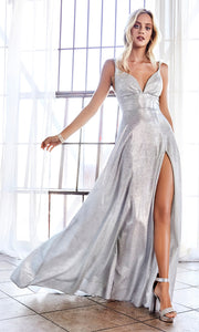 Cinderella Divine CD906 silver v neck satin dress whigh slit & straps. Perfect light grey dress for prom, engagement shoot, bridesmaids, indowestern gown, black tie event, gala, pageant, formal party dress, wedding guest dress. Plus sizes avail