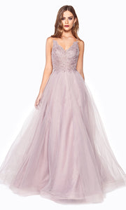 Cinderella Divine CD899 mauve v neck sequin lace beaded dress wlow back &straps. Perfect pink tulle dress for prom, wedding reception or engagement dress, indowestern gown, sweet 16, debut, quinceanera, formal party dress. Plus sizes avail