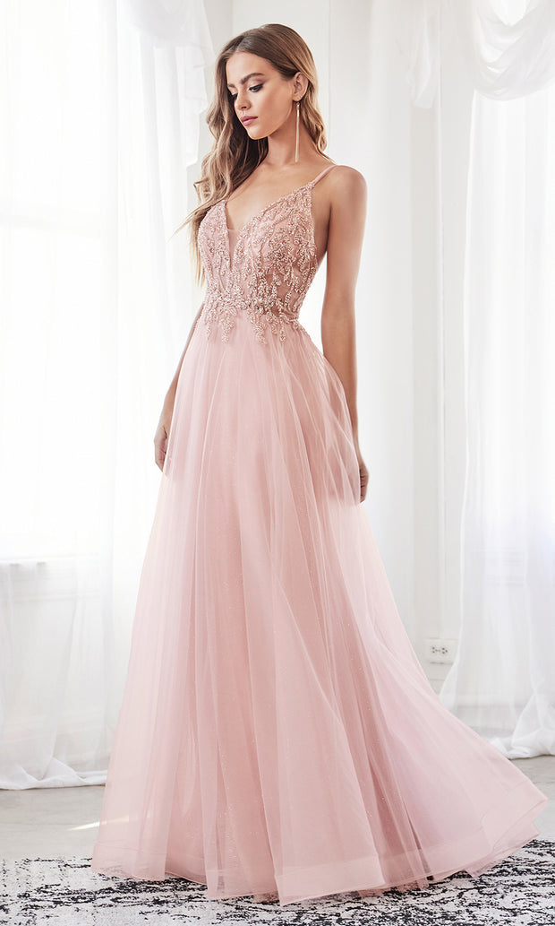 Cinderella Divine CD0154 blush pink v neck sequin beaded dress wlow back & straps. Perfect light pink dress for prom, wedding reception or engagement dress, indowestern gown, sweet 16, debut, quinceanera, formal party dress. Plus sizes avail