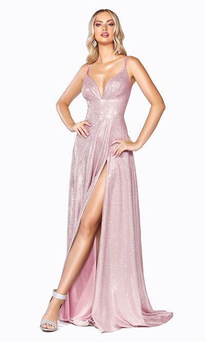 Cinderella Divine CD906 blush pink v neck satin dress whigh slit & straps. Perfect light pink dress for prom, engagement shoot, bridesmaids, indowestern gown, black tie event, gala, pageant, formal party dress, wedding guest dress. Plus sizes avail