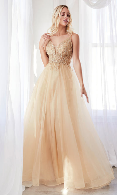 Cinderella Divine CD0154 champagne gold v neck sequin beaded dress wlow back & straps. Perfect light gold dress for prom, wedding reception or engagement dress, indowestern gown, sweet 16, debut, quinceanera, formal party dress. Plus sizes avail
