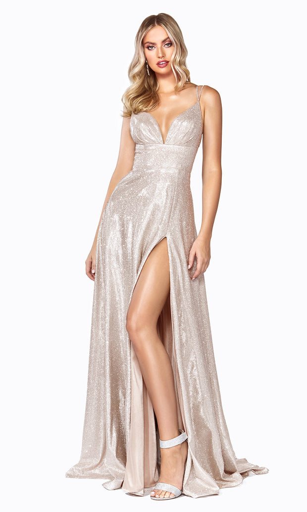 Cinderella Divine CD906 champagne v neck satin dress whigh slit & straps. Perfect light gold dress for prom, engagement shoot, bridesmaids, indowestern gown, black tie event, gala, pageant, formal party dress, wedding guest dress. Plus sizes avail