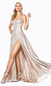 Cinderella Divine CD906 champagne v neck satin dress whigh slit & straps. Perfect light gold dress for prom, engagement shoot, bridesmaids, indowestern gown, black tie event, gala, pageant, formal party dress, wedding guest dress. Plus sizes avail-2