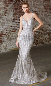 Cinderella Divine CW855 Long Chamagne Sequin Beaded Dress