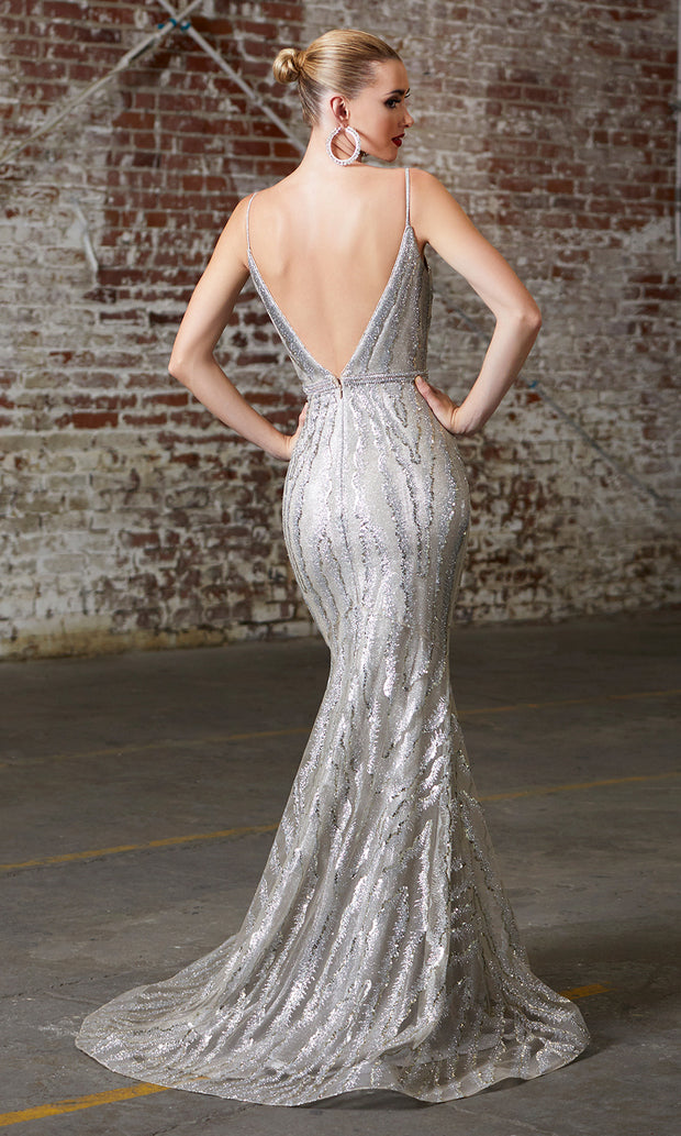 Cinderella Divine CW855 Long Chamagne Sequin Beaded Dress- back