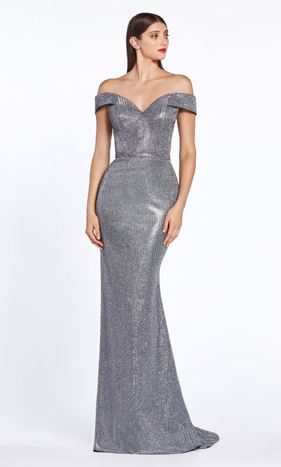 Cinderella Divine CZ0018 long fitted metallic off shoulder dress