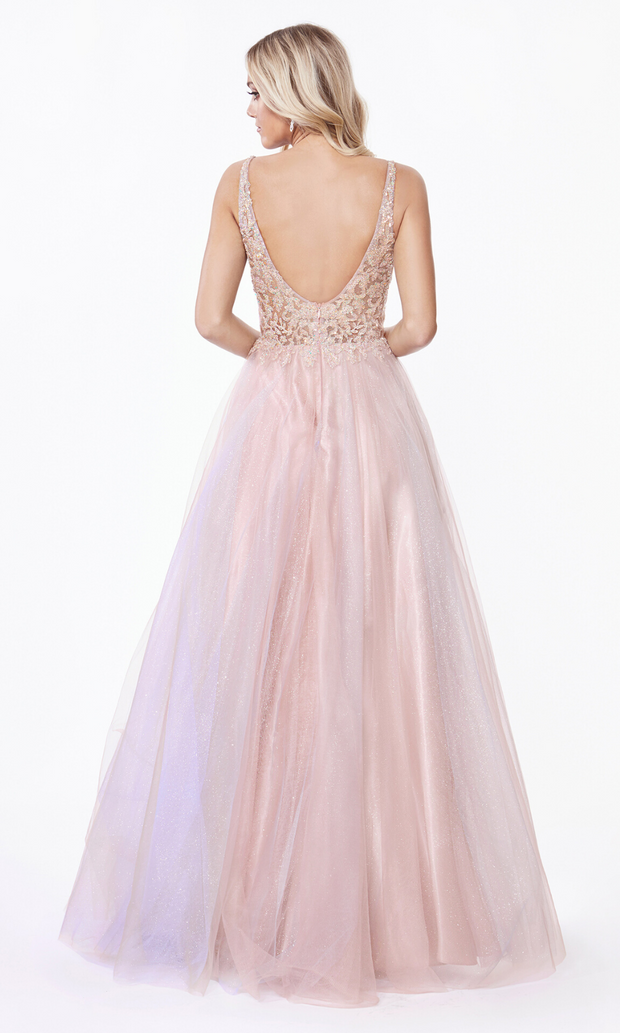 Cinderella AB198 long blush pink dress with tulle skirt