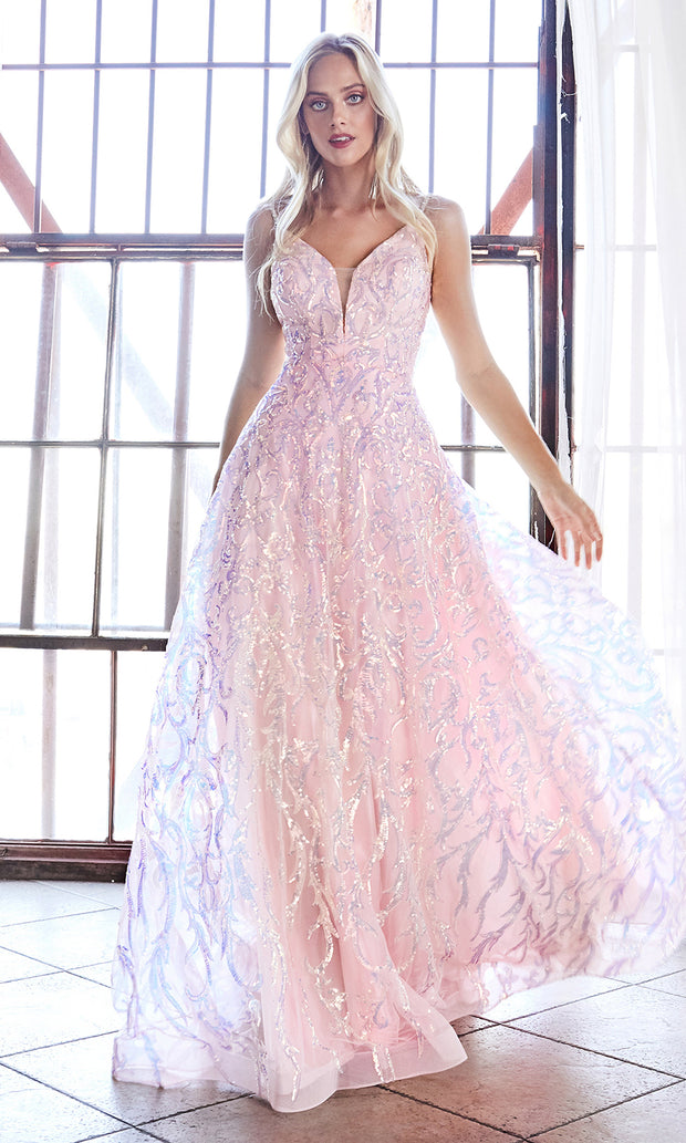 Cinderella CB055 long blush pink metallic beaded v neck semi ballgown w: open back. Perfect light pink evening dress for prom, formal wedding guest dress, indowestern gown, prom, engagement:wedding reception, debut, sweet 16. Plus sizes available-b.jpg